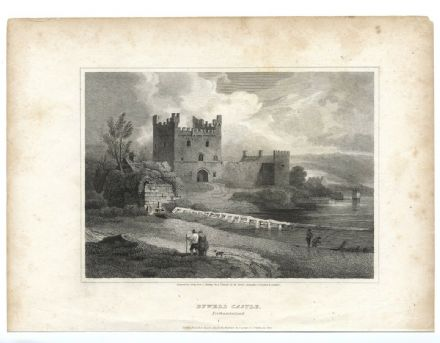1814 Antique Print BYWELL CASTLE River Tyne Northumberland ENGRAVING